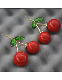 Fashion Red Cherry Shape Decorated Earrings
