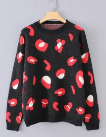 Fashion Black Color Matching Decorated Sweater