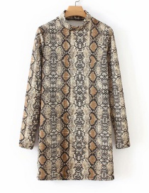 Fashion Brown Snake Pattern Decorated Dress