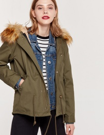 Fashion Olive Fur Collar Design Cotton-padded Clothes