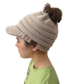 Fashion Beige Pure Color Decorated Knitted Hat