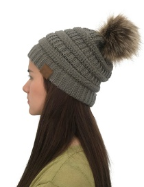 Fashion Dakr Gray Label&fuzzy Ball Decorated Knitted Hat