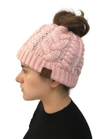 Fashion Pink Label Decorated Pure Color Knitted Hat