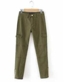 Fashion Olive Zipper Decorated Pure Color Pants