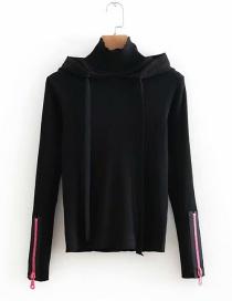 Fashion Black Zipper Decorated Pure Color Sweater