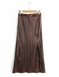 Fashion Brown Pure Color Decorated Simple Skirt