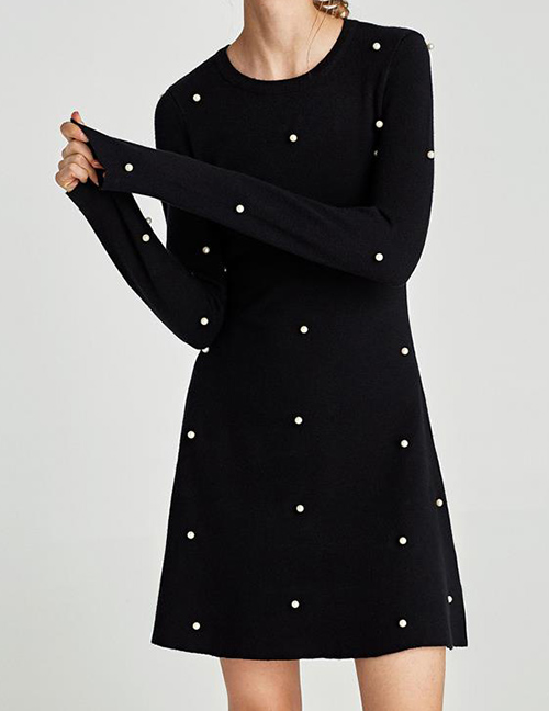 Fashion Black Dots Pattern Decorated Long Sleeves Dress