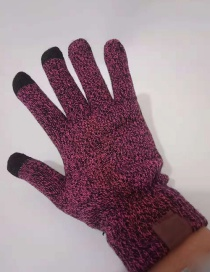 Fashion Claret Red Pure Color Decorated Gloves