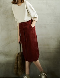 Fashion Claret Red Pure Color Decorated Skirt