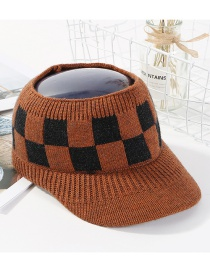 Fashion Brown Grid Pattern Decorated Hat