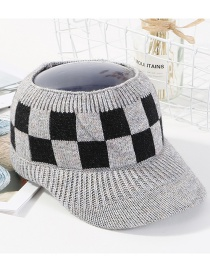 Fashion Gray Grid Pattern Decorated Hat
