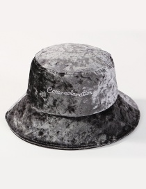Simple Gray Letter Pattern Decorated Hat