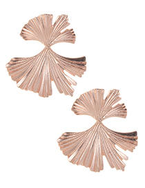 Fashion Rose Gold Pure Color Design Leaf Shape Earrings