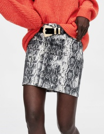 Fashion Gray Snake Pattern Decorated Simple Skirt