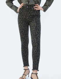 Fashion Brown Leopard Pattern Decorated Long Pants
