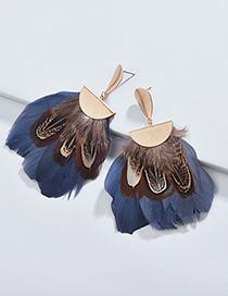 Elegant Blue Feather Decorated Multi-layer Earrings