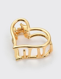Elegant Gold Color Heart Shape Design Hollow Out Hair Claw(small)