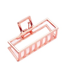 Elegant Rose Gold Hollow Out Design Square Shape Hair Claw (large)