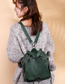Fashion Green Fuzzy Ball Pendant Decorated Leisure Backpack