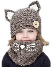 Lovely Khaki Cat Ears Shape Design Child Knitted Hat(2pcs)