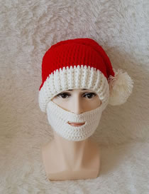Lovely White Fuzzy Ball Decorated Knitted Hat With Beard