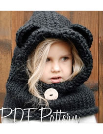 Lovely Black Bear Ears Shape Design Pure Color Child Hat