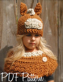 Lovely Orange Donkey Shape Design Pure Color Child Hat(2pcs)