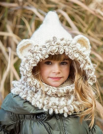 Lovely Beige Cartoon Bear Shape Design Child Tassel Hat