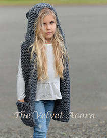 Lovely Gray Pure Color Design Child Knitted Cloak Cap