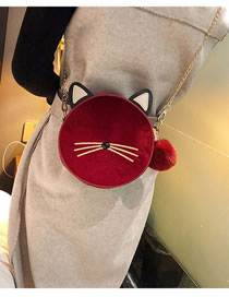 Fashion Red Cat Shape Design Pure Color Shoulder Bag