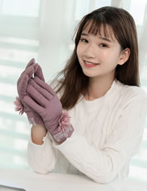 Fashion Purple Flowers Decorated Touch-screen Gloves