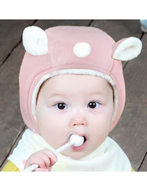 Fashion Pink Ears Shape Design Pure Color Baby Hat