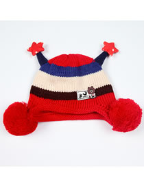 Fashion Red Stripe Pattern Decorated Child Knitted Hat