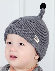 Fashion Gray Pure Color Design Baby Knitted Hat
