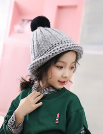 Fashion Gray Fuzzy Balls Decorated Child Knitted Hat