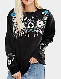 Fashion Black Embroidered Flower Decorated Simple Sweater