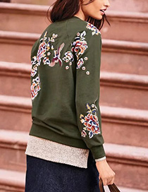 Fashion Olive Embroidered Flower Decorated Simple Sweater