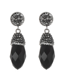 Fashion Black Diamond Decorated Waterdrop Shape Earrings