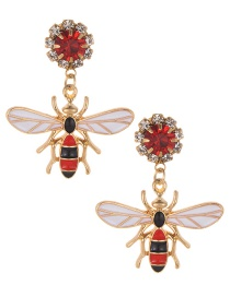 Fashion Red Bee Pendant Decorated Simple Earrings