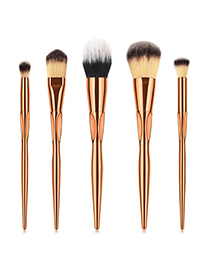 Fashion Rose Gold Flame Shape Design Cosmetic Brush(5pc)