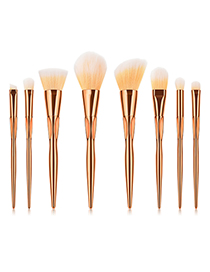 Fashion Rose Gold+yellow Color Matching Design Cosmetic Brush(8pc)