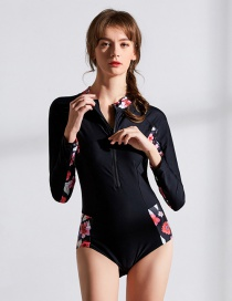Sexy Black Flowers Pattern Design Long Sleeves Swimwear