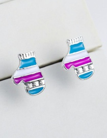 Fashion Blue+purple Glove Shape Design Simple Earrings