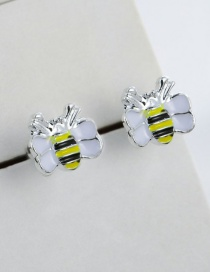 Fashion Yellow+white Cartoon Bee Shape Design Earrings