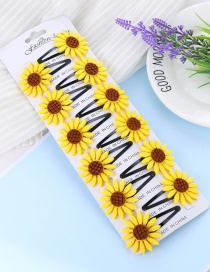 Fashion Yellow Sunflower Shape Design Hair Clip