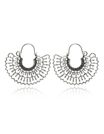 Fashion Silver Color Sector Shape Design Hollow Out Earrings