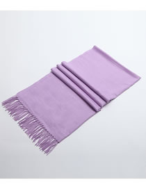 Fashion Light Purple Tassel Decorated Pure Color Scarf