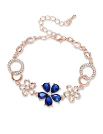 Fashion Sapphire Blue Hollow Out Flowers Decorated Bracelet