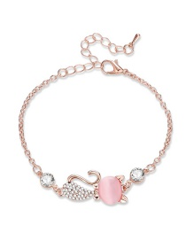 Fashion Rose Gold+pink Cartoon Fox Decorated Bracelet