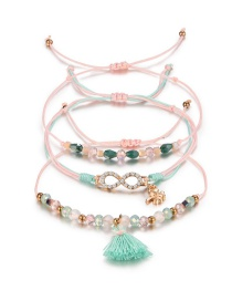 Fashion Green+pink Beads&tassel Decorated Bracelet((3pcs)